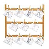 NAFURNO 3-Tier Bamboo Mug Rack Wall Mounted, Coffee Tea Cup Holder, Cup Storage Organizer,11 Hooks (18.1'' x 16.9'')