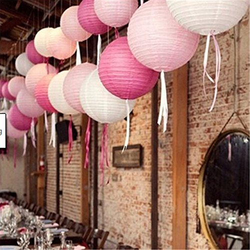 Sonnis Paper Lanterns 12'' 10'' 8'' 6'' Round lanterns for Birthday Wedding Baby Showers Party Decorations pink (12pack) by Sonnis (Image #2)