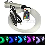 Car use DC12V 6W RGB LED plastic Fiber Optic Star Ceiling Kit Light 100pcs 0.75mm 6.5ft +17key Remote optical fiber Lights Engine
