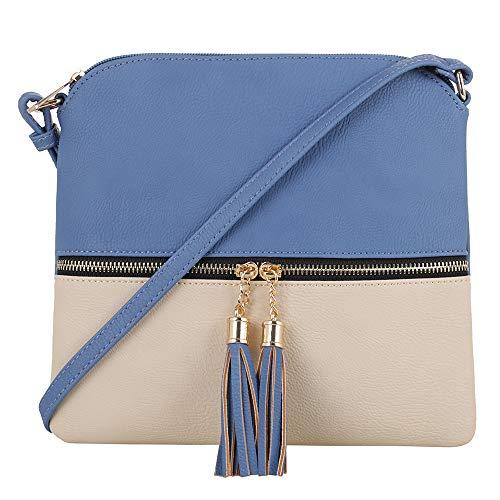 SG SUGU Lightweight Medium Crossbody Bag with Tassel and Zipper Pocket (Blue/Cream)