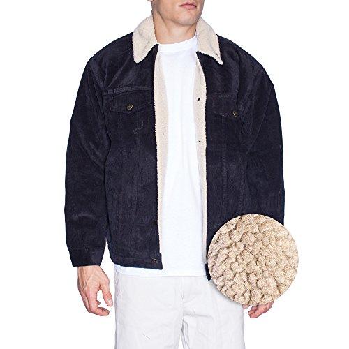 Oscar Mens Corduroy Sherpa Lining Jacket (Large, Black)