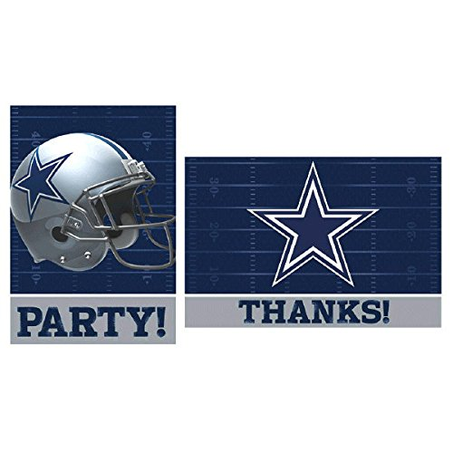 Amscan Dallas Cowboys Collection Party Invitations & Thank You Card Sets, 96 -