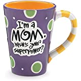 "I'm A Mom, What's Your SuperPower?"" 12oz Coffee Mug Great Gift for Mother (Purple)"