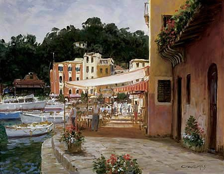 Portofino Media (31W x 23H Morning Stroll - Portofino by George Bates - Stretched Canvas w/ BRUSHSTROKES)