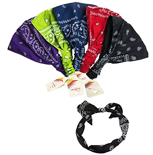 CoverYourHair 5 Pack Paisley Bandana Headbands and 1 Wire Bandana Hairband (Narrow Ties Funky)