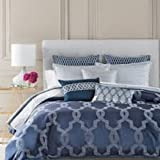 Hudson Park Gramercy Jacquard Decorative Duvet Cover Blue King