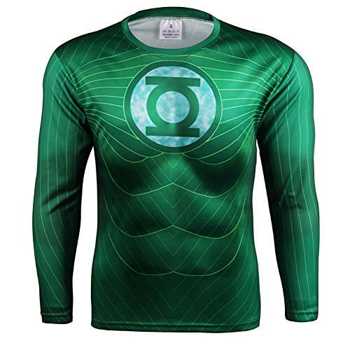 [HOCOOL Men Compression Sport Fitness Shirt Green Lantern Printed Runing Tee L] (Spider Costume Pattern Free)