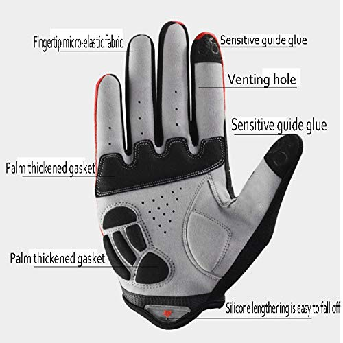 AINIYF Full Finger Gloves | Spring And Autumn Winter Full Fingers Gloves Touch Screen Anti-Slip Full Finger Motorcycle Gloves Cycling Equipment (Color : Black, Size : M) by AINIYF (Image #5)