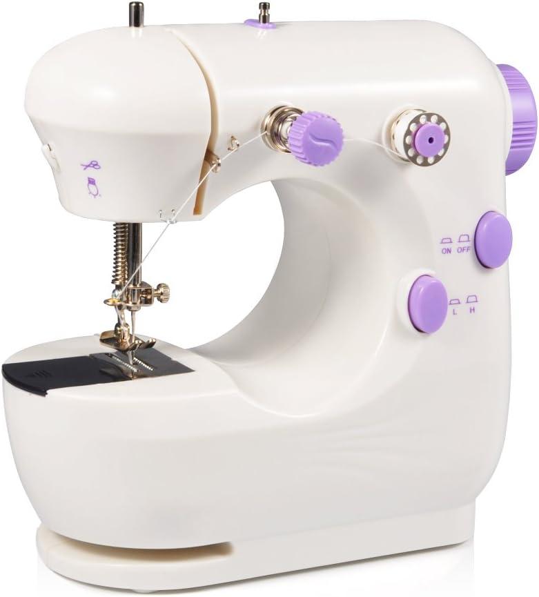 Máquina de Coser Eléctrica Máquina de Coser Doble Velocidad Multifunción EU Standard Botón Mini Máquina de Coser Portátil
