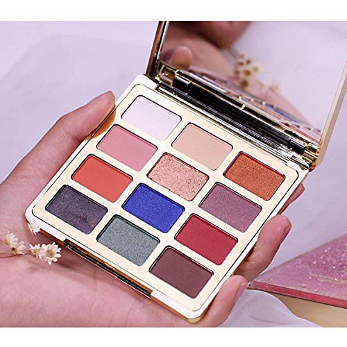 Eyeshadow Palette Matte Shimmer,12 Colors Highly Pigmented Eye Shadows Powder Makeup Set for Natural Smoky Cosmetic (Green)