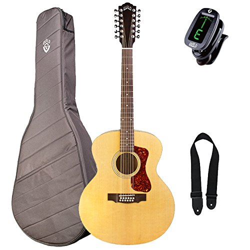 Guild F-2512E Westerly Jumbo 12-String Acoustic-Electric Guitar with Deluxe Gig Bag, Tuner, and Strap ()