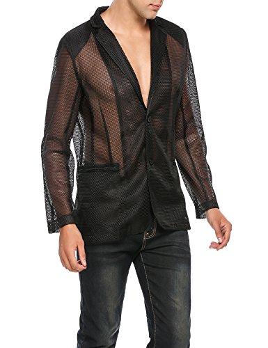 COOFANDY Men's Sexy See-Through Mesh Blazer Coat Clubwear Fishnet (Mesh Blazer)