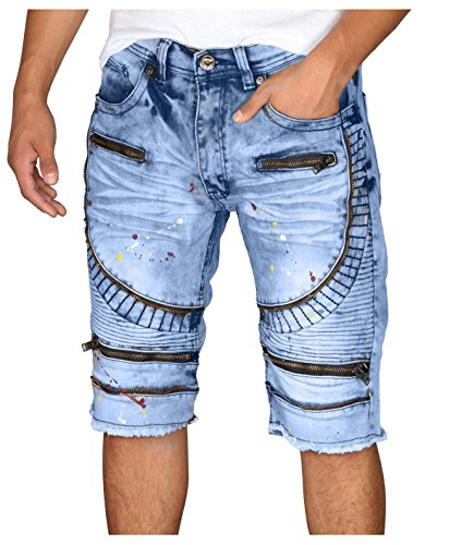 BLEECKER & MERCER Moto Ripped and Repaired Denim Jeans Shorts-Ice Indigo-36