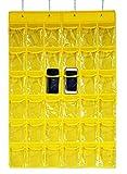 Racheljp Cell Phone Holder Classroom 36 Hanging Pocket Organizer, Yellow