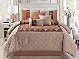 Cheap 7-Pc Quilted Diamond Chic Southwest Embroidery Comforter Set Beige Coffee Brown Queen