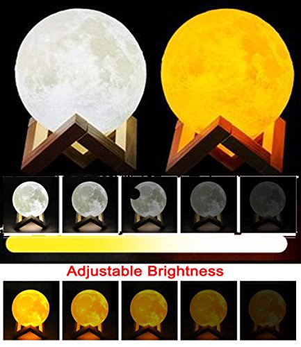 Moon Lamp 3D Printed Remote Control Night Light 16 RGB Colors Changing Dimmable LED Mood Light USB Rechargeable Moonlight 12cm/4.7 inch With Wood Stand (12cm) by Sourcebuy (Image #6)