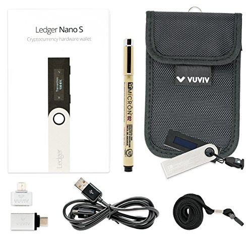 Ledger Nano S Bitcoin Wallet Bundle With VUVIV RFID Pouch, 2 VUVIV USB Adapters for Greater Connectivity & 1 Sakura Archival Ink Pen for Recovery Seed Sheet (5 items) by VUVIV