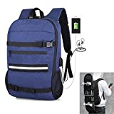 DOLIROX Skateboard Backpack Anti Theft Backpack Laptop School Bag with USB Charging Port & Headphone Hole Fits 15.6 Inch Laptop, Business Notebook Suited for College Student, Men and Women (Black)