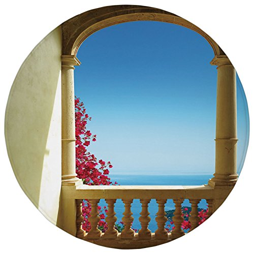 Cheap  2.95 Ft Round Bathroom Rug,Patio Decor,Ancient Balcony with View to Mediterranean Sea..