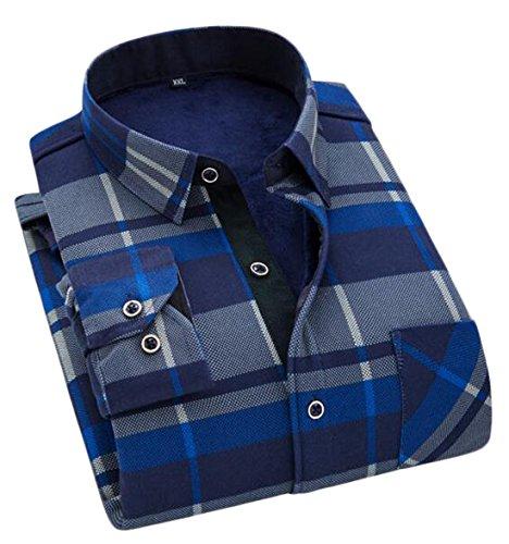 HANA+DORA Men's Flannel Lining Checkered Thermal Flannel Shirt 3 XXXL (3 Button Flannel)