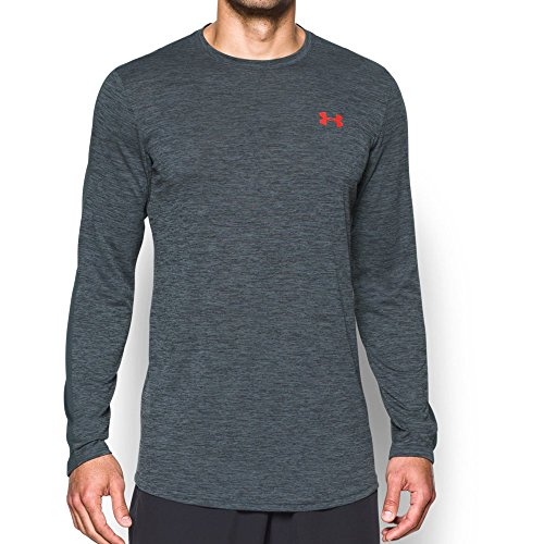 Under Armour Men's Raid Longline Long Sleeve T-Shirt,Stealth Gray /Phoenix Fire, (Heatgear Gray T-shirt)