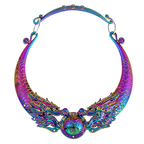 17Rainbow Women Fashion Large Costume Jewelry Vintage Chinese Dragon Statement Necklace Chunky Collar Choker