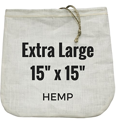 "Extra-Large Nut Milk Bag - 15"" x 15"" - All Natural Hemp Reusable Food Strainer for Yogurt, Cheese, Nut Milks, Tea, Coffee & More - 100% Eco-Friendly (hemp)"