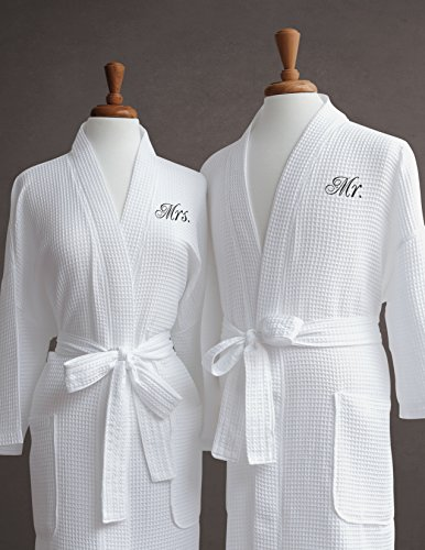 Mr. & Mrs. Couple's Waffle Weave Bathrobe Set - 100% Egyptian Cotton - Unisex/One Size Fits Most Spa Robe Luxurious Soft Plush Elegant Script Embroidery Perfect Wedding Gift Luxor Linens - Shopping Vegas Las Stores