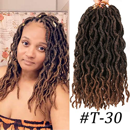 LEEONS 6Packs/Lot 12'' Boho Locs Nu Locs Wavy Faux Locs Crochet Synthetic Braiding Hair Pre-loop Crochet Braids Soft Curly Faux Locs Hair Extensions Braids Dreadlocks 20Roots/PCS(12inch,#T-30) (Best Hair Length For Dreadlocks)