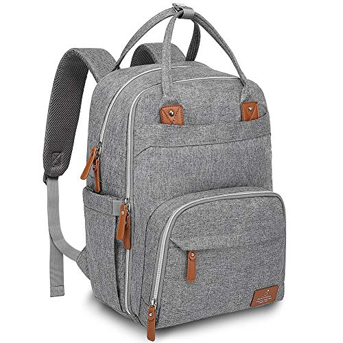 Diaper Bag Backpack, BabbleRoo Baby Nappy Changing Bags for Mom & Dad, Multifunction Waterproof Travel Back Pack with Changing Pad & Insulated Pockets, Gray