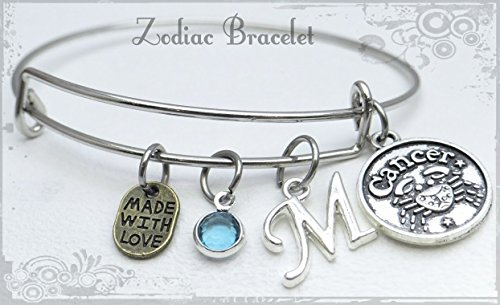 Zodiac Sign Bracelet, Personalized Initial & Birthstone Bracelet, Cancer Charm Bracelet (Bracelet Zodiac Sign)