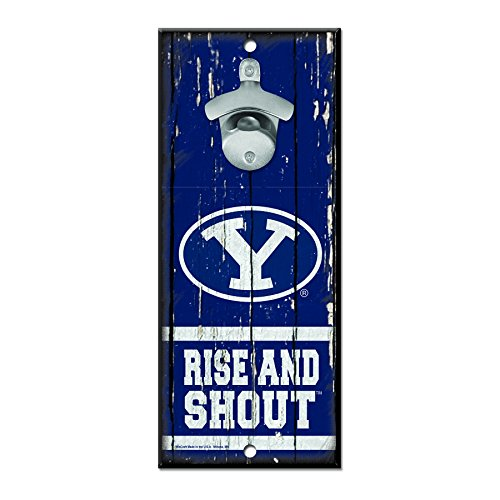 WinCraft NCAA BYU Cougars Wood Bottle Opener Sign, 5