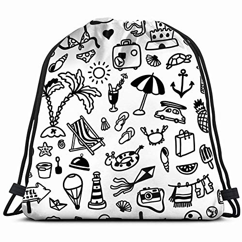 handdrawn summer doodles nature doodle objects Drawstring Backpack Gym Sack Lightweight Bag Water Resistant Gym Backpack for Women&Men for Sports,Travelling,Hiking,Camping,Shopping Yoga