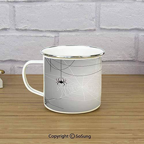 Spider Web Enamel Camping Mug Travel Cup,Spiders Hanging