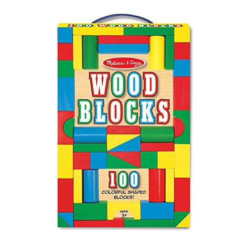 51%2BdWrLzC7L - Melissa & Doug Wooden Building Blocks Set - 100 Blocks in 4 Colors and 9 Shapes