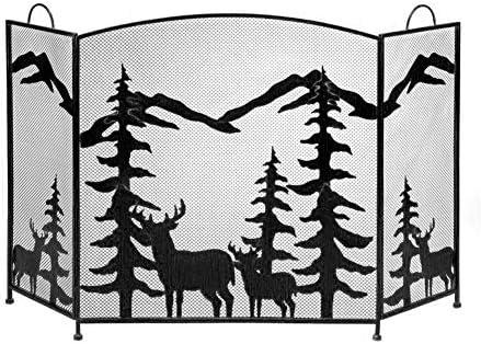 """錬鉄製暖炉スクリーン、小さな暖炉の場所パネル、ベビーセーフスパークガードカバー、黒、56""""L×32"""" H"""
