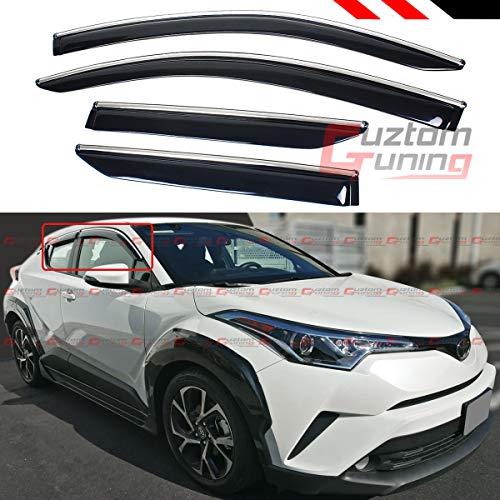 - Fits for 2018-2019 Toyota C-HR CHR Chrome Trim Window Visor Vent Shade Rain Guard Deflector