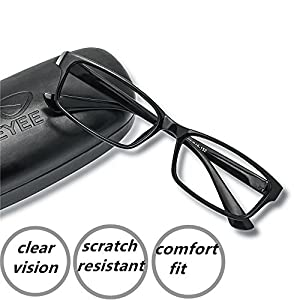 EyeYee Reading Glasses +0.50 Black- Rectangle Full Rim Anti Reflective Mens Womens Eyeglasses Readers Comfortable stylish glasses