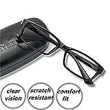 EyeYee Reading Glasses +3.75 Black- Rectangle Full Rim Anti Reflective Mens Womens Eyeglasses Readers Comfortable stylish glasses