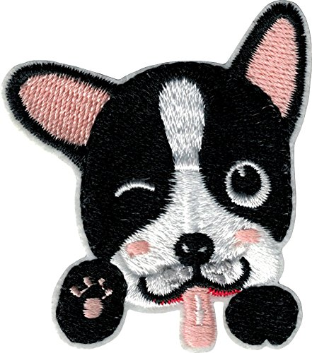 Winking Boston Terrier with Tongue Out - Cut Out Embroidered Iron On or Sew On Patch