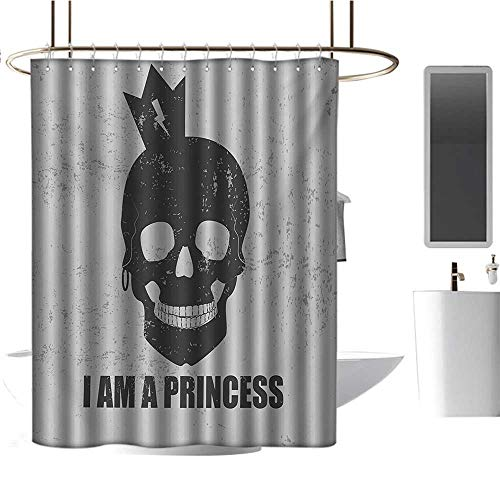 Qenuan Waterproof Fabric Shower Curtain I am a Princess,Skull with a Crown Skeleton Halloween Theme Grunge Look,Charcoal Grey and Pale Grey,Machine Washable - Shower Hooks are Included 72