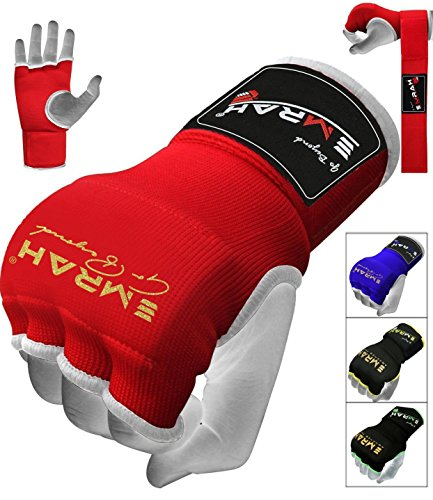 EMRAH PRO Training Boxing Inner Gloves Hand Wraps MMA Fist Protector Bandages Mitts - X (Red, Small)