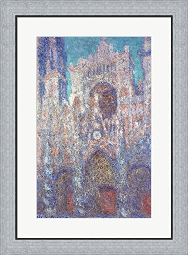 Rouen Cathedral in the Setting Sun by Claude Monet Framed Art Print Wall Picture, Flat Silver Frame, 22 x 30 (Flat Cathedral Setting)