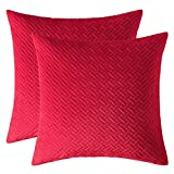 Artcest Set of 2, Decorative Velvet Bed Throw Pillow Case, Sofa Soft Quilted Pattern, Comfortable Couch Cushion Cover, 16''x16'' (Bright Red)