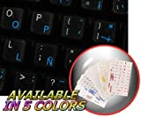 SPANISH (LATIN AMERICAN) KEYBOARD STICKER WITH BLUE LETTERING ON TRANSPARENT BACKGROUND FOR DESKTOP, LAPTOP AND NOTEBOOK