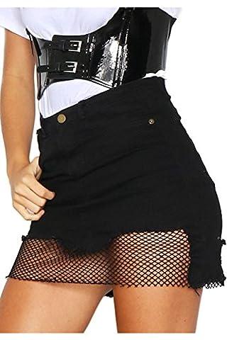 Women Elegant Mesh Patchwork Denim Mini Skirt Night Club Dress Black L - Co Black Denim