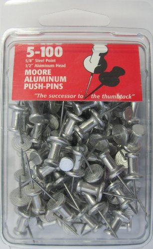 Moore Push-Pin 5-100 Aluminum Push Pins, 100 per (Head Pin Packaged)