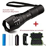 1000 flashlight - Tactical Flashlight Kit, ANNAN 1000-Lumen Bright LED Flashlight with Zoomable Head, 5-Mode, Portable Waterproof Torch, Aluminum Frame, AAA or Included Rechargeable 18650 Lithiumion Battery,Charger