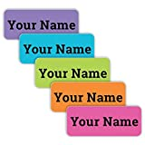 Original Personalized Peel and Stick Waterproof Custom Name Tag Labels for Adults, Kids, Toddlers, and Babies – Use for Office, School, or Daycare (Jewel Palette Theme)