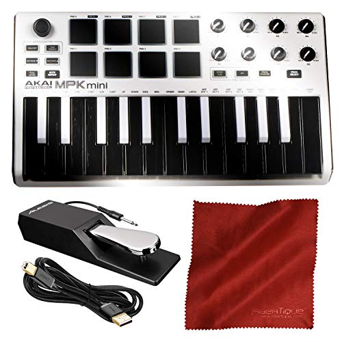 Akai Professional MPK Mini MKII 25-Key Ultra-Portable USB MIDI Drum Pad & Keyboard Controller (White on Black) with Pro…